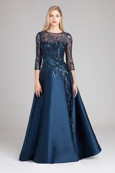 Silk Gazar & Sequin Gown   Teri Jon