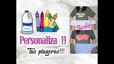 ⚫️ 4 formas de personalizar tus  PLAYERAS // cloro y crayones Barbie, Youtube, Tela, Shapes, Manualidades, Planks, Recycling, Youtubers, Barbie Dolls