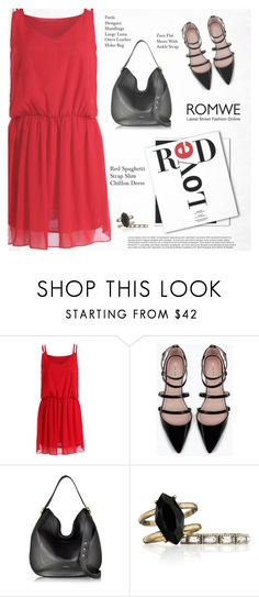 """Romwe Red Dress"" by tawnee-tnt ❤ liked on Polyvore featuring Zara, Furla and Chloe + Isabel"