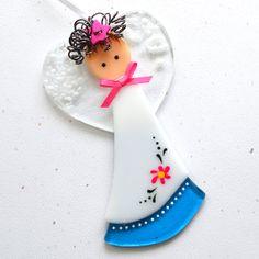 026  Angel Ornament Fused Glass Ornament by nivenglassoriginals