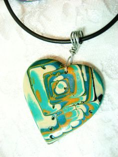 Mokume Gane Polymer Clay Heart Necklace by me, Donna DeCicco on Etsy, $14.99