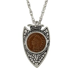 American Coin Treasures Indian Head Penny Silvertone Arrowhead Pendant ($23) ❤ liked on Polyvore featuring jewelry, pendants, necklaces, white, american indian jewellery, white pendant, native american indian jewelry, american jewelry and indian jewelry