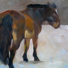 DPW Fine Art Friendly Auctions - Study of Bay Horse in Snow by Elaine Juska Joseph