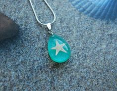 Real Starfish Necklace Aqua Turquoise