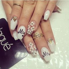 Bride and Groom Wedding Nail Art!