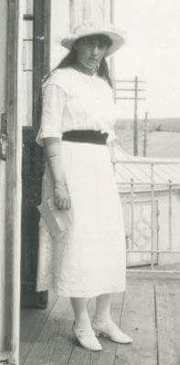 Grand Duchess Anastasia Nikolaevna Romanova of Russia on the balcony of the Lazaret at Mogilev in the summer of 1916.