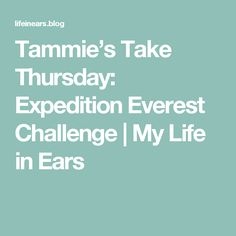 Tammie's Take Thursday:  Expedition Everest Challenge | My Life in Ears
