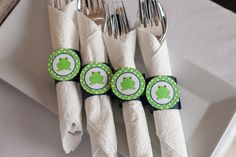 Frog Theme Birthday Party - Frog Napkin Rings - Frog Silverware Wraps - Frog Party Decorations in Navy Blue and Green (12)