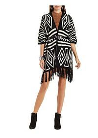Geometric Fringe Poncho Cardigan Sweater