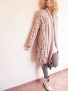 Womens long, cable knit sweater, cardigan. Jacket coat with wide shawl collar and allover cable pattern has also pockets. Hand knitted by me with