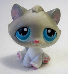 Littlest Pet Shop Gray Cat Sitting 2004 Blue Eyes #Hasbro