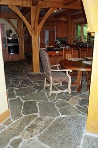 """i've always wanted a """"broken"""" natural slate floor in my dream kitchen. it looks and feels earthy, and brings the outdoors in, and breaks up the monotony of clean, linear modern design."""
