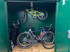 'Hey Guys, sharing a few pictures of our wonderful Asgard Storage unit. It was very easy to assemble and now gives us piece of mind having our bikes locked up securely. It looks great, the bikes are safe....we're very happy. Thank you 🙏🏼 Sam' - Sam on the Trojan plus bike and garden shed Garden Bike Storage, Bike Shed, The Unit, Guys, Metal, Happy, Pictures, Photos, Indoor Bike Storage
