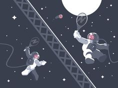 Cosmonauts Playing Tennis