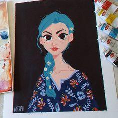 "Floral - gouache on paper.  10.6"" x 13.8""  #traditional #painting #portrait #artistoninstagram #arts_help #artfido #mz09 #mz09art #juliocesarart"