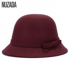 4c4ce25a34cf4 Brand NUZADA Felt Imitation Woolen Winter Autumn Women Ladies Fedoras Top  Jazz Hat Simple Solid Color