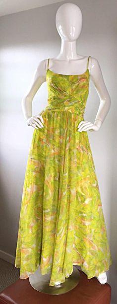 Amazing 1970s Joseph Magnin Chartreuse Green Chiffon 70s Vintage Maxi Dress Gown