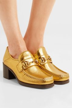 Gucci - Horsebit-detailed Collapsible-heel Metallic Leather Loafers - Gold