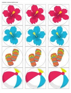 free printable party circles for your next beach party, pool party, or luau