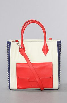 The Ozee Studded Tote Bag in Off White and Red by Mata Hari
