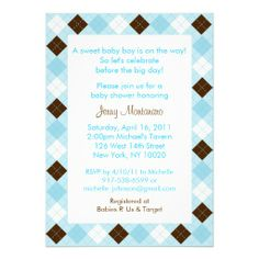 Modern Baby Blue Argyle Baby Shower Invitations
