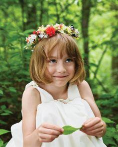 Fresh-flower crown for flower girl.
