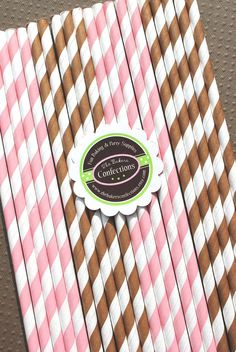 Stripe Paper Straws  Light Pink and Brown by thebakersconfections, $5.00 -for Starbucks cupcakes