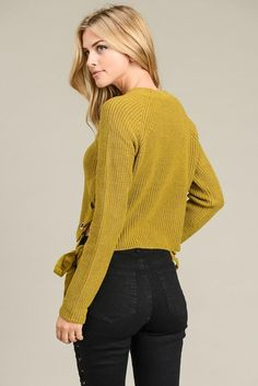 Romantic Long Sleeve Sweater Opaque Tights, Line Jackets, Long Sleeve Sweater, Crochet Top, Romantic, Pullover, Yellow, Model, Sweaters