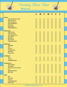 Daily/Weekly Cleaning Chore Chart-FREE Printable