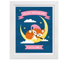 7T Baby Fox Print  Follow Your Dreams Little One  by leearthaus