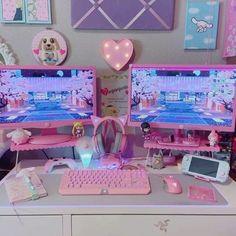 Gaming Room Setup, Computer Setup, Pc Setup, Gaming Rooms, Computer Desks, Cute Room Ideas, Cute Room Decor, Girl Bedroom Designs, Room Ideas Bedroom