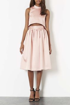 Topshop Limited Edition Duchess Satin Midi Skirt in Beige (PINK)   Lyst