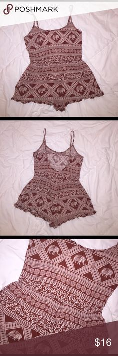 """Forever 21 Bohemian print romper A dirt reddish kind of color with cream detailing. Very bohemian inspired prints. Loose fitting, flowy romper. Has adjustable straps and a """"U"""" shaped back. In good condition, gently used. Forever 21 Other"""