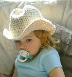 Handmade Crochet Pure Cotton Baby or Toddler Cowboy Hat
