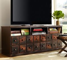 "Andover Media Console PB for under game room tv...at 27""h, I will need to confirm the clearance under TV actually doors made to look like drawers"