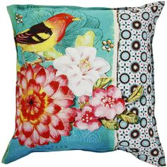Pip Studio Art Bird Cushion - 60x60cm (125 CAD) ❤ liked on Polyvore featuring home, home decor, throw pillows, pillows, blue, bird throw pillows, flower stem, pip studio, bird home decor and blue home decor