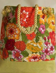 Floral Canvas Beach Tote by HatsEtc on Etsy