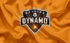 Scarica sfondi Houston Dynamo FC, Club di Football Americano, MLS, USA, Major League Soccer, emblema, logo, bandiera di seta, Houston, Texas, calcio