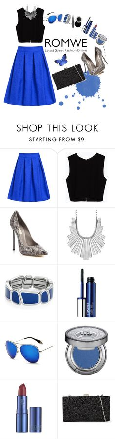 """""""Blue Skirt with ROMWE"""" by razone ❤ liked on Polyvore featuring Zara, Casadei, Lucky Brand, Kate Spade, Clinique, KOON, Urban Decay, Lipstick Queen, ALDO and Mary Kay"""