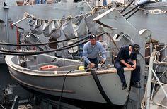 Boat deck Vintage Sailor, Vintage Men, Navy Veteran, United States Navy, Navy Ships, Greyhounds, Us Navy, Sailors, Police