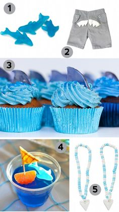 lots of great ideas, including cake pops (stop me if I try to make those!!), shark tooth candy necklaces, so TOTALLY getting those, if it is indeed a shark party, and more. shark birthday party ideas