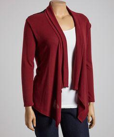Look at this #zulilyfind! Burgundy Lace Open Cardigan - Plus #zulilyfinds