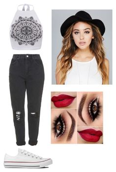 """""""❤️❤️❤️"""" by victoriamajors ❤ liked on Polyvore featuring Topshop, Converse and Wet Seal"""