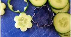 """Garden Fresh Herbed Cucumber """"Flower"""" Bites - great party food. use seedless cucumber and small flower cookie cutter to make these pretty ap..."""
