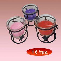 Κηροπήγειο ρεσώ με μεταλλική βάση σε διάφορα χρώματα 1,00 €