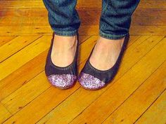 DIY glitter toed ballet flats (could probably be done to the whole shoe as well).  Excited to try!!!