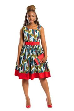 Your African Print dress for the summer! cotton Ankara fabric Our model wears size S ***Red Belt and matching purses are sold separately. African Dashiki Shirt, African Print Skirt, African Print Dresses, African Fashion Dresses, African Dress, African Prints, African Wear Styles For Men, African Print Fashion, Africa Fashion