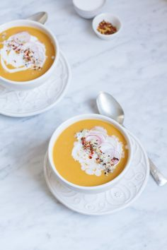 Healthy Recipe | Coconut Miso Butternut Squash Soup | http://saltandwind.com @saltandwind