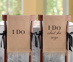 I Do Burlap Chair Covers - LRWF565ID