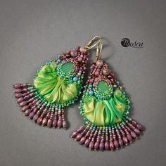 Ainhoa - bead embroidered earrings with shibori silk ribbon